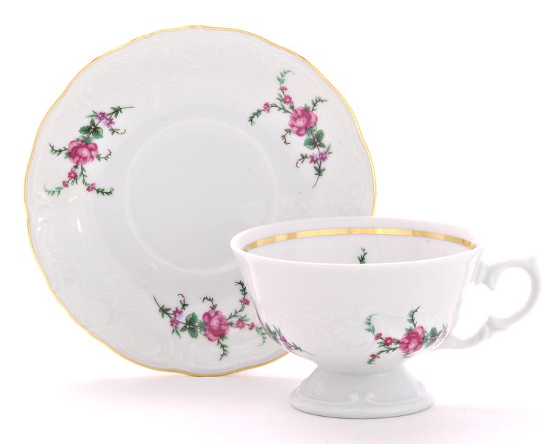 Rose Garden Fine China Teacup and Saucer