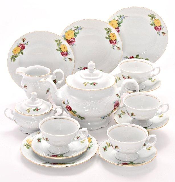 Rose Bouquet Fine China Tea Set for Four