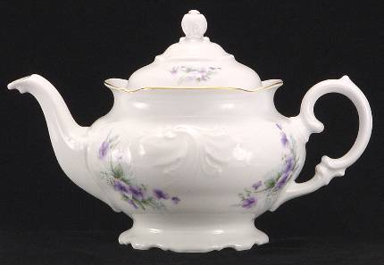 Violet Fine China Teapot - Small