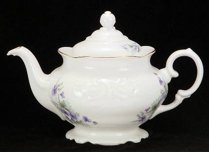 Violet Fine China Teapot - Medium