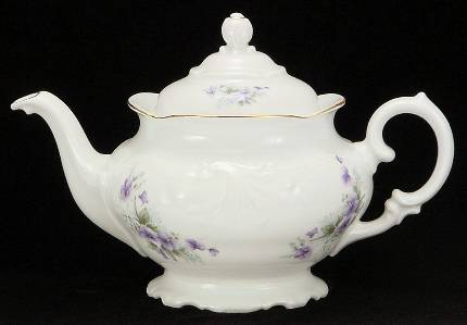 Violet Fine China Teapot - Large