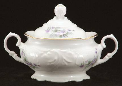 Violet Fine China Covered Sugar Bowl
