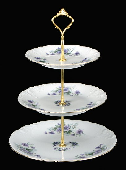 Violet Fine China Tiered Plate