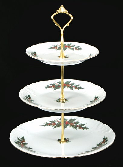 Christmas Berry Fine China Tiered Plate