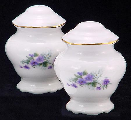 Violet Fine China Salt and Pepper Shakers