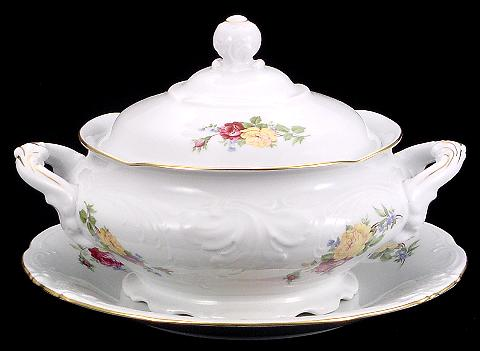 Rose Bouquet Fine China Soup Tureen With Plate