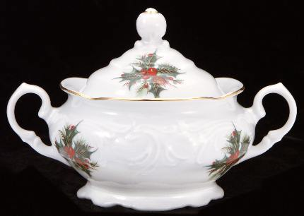 Christmas Berry Fine China Covered Sugar Bowl