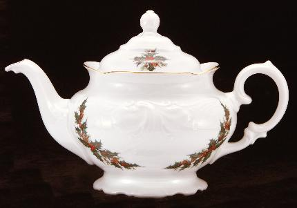 Christmas Berry Fine China Teapot - Large