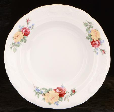 Rose Bouquet Fine China Rimmed Soup Bowl