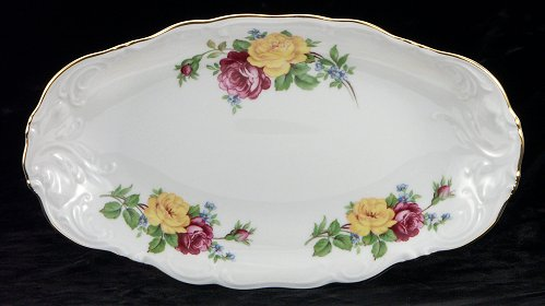 Rose Bouquet Fine China Long Serving Dish