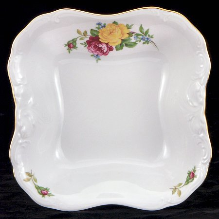 Rose Bouquet Fine China Square Serving Bowl