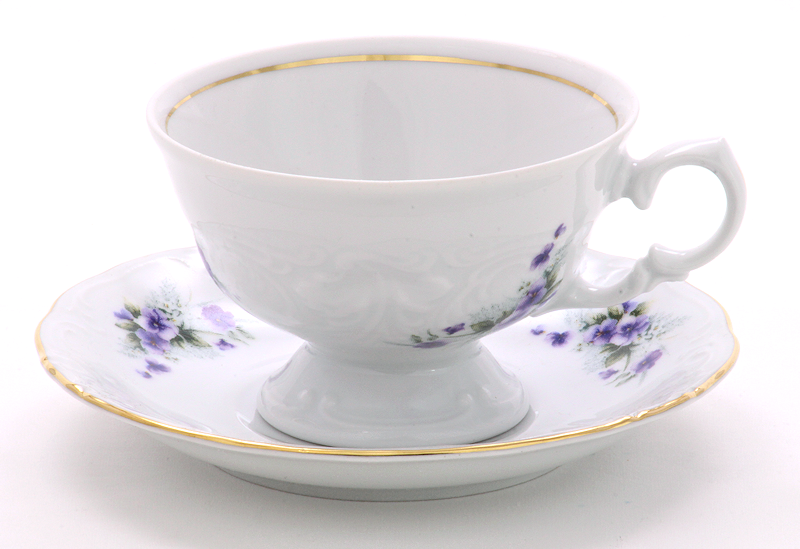 Violet Fine China Teacup and Saucer